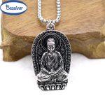 <b>Antique</b> Silver Buddha Pendant Necklace Prayer Mala Meditation Women Men Energy <b>Jewelry</b> Stainless Steel Chain