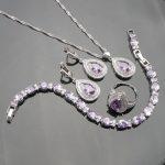 Purple Cubic Zirconia 925 Sterling <b>Silver</b> Jewelry Sets For Women Earrings/Pendant/Necklace/Rings/<b>Bracelet</b> Free Box