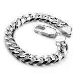 Fashion and personality Curb Cuban Link Mens <b>Bracelet</b> Double Chain 925 sterling <b>silver</b> Polished Solid <b>silver</b> jewellery 8mm/10mm