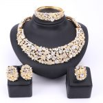 Women Party Bridal Fine Clear Rhinestone African Beads <b>Jewelry</b> Sets For Wedding Party Dinner Dress <b>Necklace</b> Earring <b>Jewelry</b> Sets