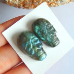 Natural Gemstone Carved Labradorite Skull Cabochon Pairs,24x14x8mm,9.6g