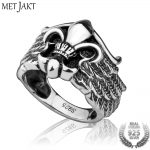 MetJakt Vintage Thai Silver Anchor and Crown Ring & <b>Handmade</b> Wing Ring for Cool Men Personality Sterling Silver Punk <b>Jewelry</b>