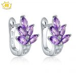 Hutang Natural Gemstone Amethyst <b>Silver</b> Clip <b>Earrings</b> Solid 925 Sterling Fine Fashion Stone Jewelry For Women's Gift New Arrival