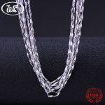WK Bulk 5PCS 10PCS 20PCS 50PCS 100PCS 925 Sterling <b>Silver</b> Chain <b>Necklace</b> Jewelry Wholesale Lots Chaine Argent 925 40 45 CM NA026
