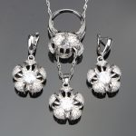 Trendy <b>Handmade</b> White Cubic Zirconia 925 Sterling Silver <b>Jewelry</b> Sets For Women Earrings/Pendant/Necklace/Rings Free Gift Box