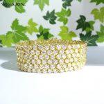 VANAXIN CZ Paved Bling Bling Bracelet For Women Charming <b>Wedding</b> <b>Jewelry</b> Full Rhinestone Gift Silver Plated Gold Color 19CM Box