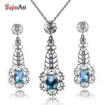 Szjinao Aquamarine Jewelry Natural Pearl Women for Jewelry Sets Party 925 Sterling <b>Silver</b> Vintage Pendant <b>Earrings</b> Sets