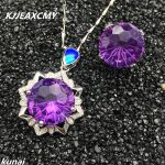 KJJEAXCMY Fine jewelry, Color treasure 925 <b>silver</b> inlaid fireworks, Amethyst two sets, simple and generous wholesale