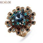 KCALOE Big Titanium Gold Flowers Engagement Rings For Women Luxury Blue Crystal Rhinestone Vintage Finger Ring <b>Wedding</b> <b>Jewelry</b>