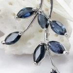 natural dark blue sapphire gem pendant S925 <b>silver</b> Natural gemstone Pendant Necklace trendy Elegant leaves women party <b>jewelry</b>