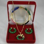 Women's Wedding fashional 7.5″ stone bracelet, green stone earings and pendant <b>jewelry</b> sets real silver-<b>jewelry</b>