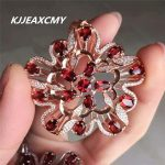 KJJEAXCMY boutique <b>jewelry</b>,Natural garnet female Necklace Pendant inlaid with Taobao hot S925 Sterling <b>Silver</b>