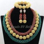<b>Handmade</b> Nigerian Wedding African Beads <b>Jewelry</b> Set Crystal Beads <b>Jewelry</b> Set Latest Red Green Lace <b>Jewelry</b> Free Shipping ABK842