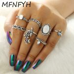 MFNFYH Punk Vintage Crystal Flower Moon Knuckle Ring Set Boho <b>Antique</b> Silver Rings for Women Accessories Bohemian <b>Jewelry</b> Bijoux