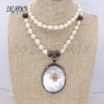Natural shell &tiny bee pendant Natural pearls strand pendant necklace long pearls necklace <b>handmade</b> <b>jewelry</b> gift for lady 4111