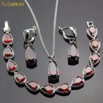 Lan Classic Choker Water Drop Shaped <b>Jewelry</b> Sets Red Garnet AAA Zircon For <b>Necklace</b> Pendant /Earring /Bracelet Free Shipping