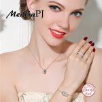 [MeiBaPJ]Very Fashion Round Necklace+<b>Earrings</b>+Ring+Bracelet High Quality Zircon S925 Sterling <b>Silver</b> Set for Women Fine Jewelry