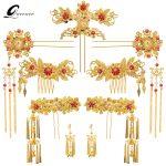 New <b>Handmade</b> Chinese Classical Bridal Tiaras Vintage Gold Color Brides Hair Accessories Suit Tasseles Style Wedding Headdress