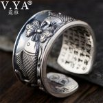 V.YA 12mm Vintage Thai Silver Fish Rings for Men Women Couple Adjustable Size 990 Sterling Silver <b>Jewelry</b> Romantic Gift