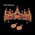 Large Baroque Red Crystal Wedding Princess Crown Luxury Rhinestone Bride Tiaras Bridal Prom Hair <b>Jewelry</b> Bridesmaid Accessories