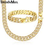 Trendsmax <b>Jewelry</b> Set Paved Rhinestones CZ Miami Cuban Chain Men's <b>Necklace</b> Bracelet 316L Stainless Steel Gold 12mm KHS60