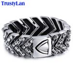 TrustyLan 25MM Wide Heavy Mens Bracelets Punk Skull Bracelet Men Biker Motorcycle <b>Jewelry</b> Stainless Steel Wrap Bracelet Bangles