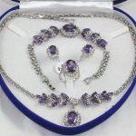 Prett Lovely Women's Wedding 18KGP red blue zircon beaded flower necklace bracelet earring ring set
