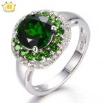 Hutang Russia Emerald Chrome Diopside Halo Ring Solid 925 <b>Sterling</b> <b>Silver</b> Women's Green Gemstone <b>Jewelry</b> 2017 New Arrival