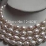 Lengthen 9-10mm White Rice Cultured Akoya Pearl Necklace Beads <b>Jewelry</b> <b>Making</b> Natural Stone Rope Chain 48inch(Minimum Order1)