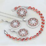 925 Sterling <b>Silver</b> Jewelry Red Garnet White Crystal Costume Jewelry Sets For Women Earrings/Pendant/Necklace/<b>Bracelet</b>/Ring