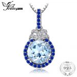 JewelryPalace 1.8ct Natural Sky Blue Topaz Halo Pendant <b>Necklace</b> Genuine 925 Sterling <b>Silver</b> Box Chain Long 45cm Fashion Jewelry