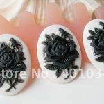Oval white resin cabochon with black rose cameo,18*25mm for <b>jewellery</b> making,phone beauty and home <b>decoration</b>