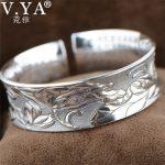 V.YA Vintage 999 <b>Sterling</b> <b>Silver</b> Lotus Flower Bangles Bracelets for Men Women Heart Sutra Thai <b>Silver</b> Fine <b>Jewelry</b> Best Gift