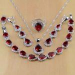 Water Drop 925 Sterling <b>Silver</b> Jewelry Red Cubic Zirconia White CZ Jewelry Sets Women Earrings/Pendant/Necklace/Rings/<b>Bracelet</b>