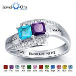 Personalized <b>Jewelry</b> For Couples Engrave Name Birthstone Ring 925 Sterling Silver Party Ring Unique Gift(JewelOra RI101966)