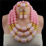 New <b>Handmade</b> Crystal Beads Balls Wedding <b>Jewelry</b> Set Fashion Pink Costume <b>Jewelry</b> Nigerian Brides Free Shipping