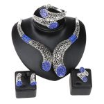 Wedding Party <b>Accessories</b> African Beads <b>Jewelry</b> Sets Blue Rhinestone Silver Plated Bridal Necklace Bangle Earrings Rings Set