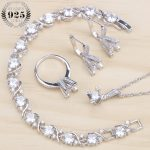 White Zircon <b>Silver</b> 925 Wedding Jewelry Sets Women Costume Jewelry Pendant Necklace Rings Charms <b>Bracelet</b> Earrings Set Gift Box
