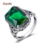 Szjinao Fashion Wide Ring Solid 925 Sterling <b>Silver</b> Bulgaria <b>Jewelry</b> Green Emerald Vintage Charms Korean Wedding Ring Wholesale