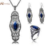 Sale Turkish Vintage Jewelry Sets Pendant & <b>Earrings</b> Ring Blue Rhinestone Crystal 925 <b>Silver</b> Wedding Gift for Love Bijoux uk