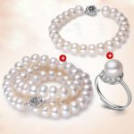 RUNZHUQIYUAN 2017 100% Natural freshwater pearl necklace jewelry set 925 sterling <b>silver</b> jewelry pearl for women best gift