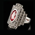 Jenia <b>Antique</b> Red Austrian Crystal Ring with Marcasite Stones Retro Gold Color Ring <b>Jewelry</b> for Women and Men XR306