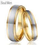 Soul Men Gold & Silver Color Pure Titanium Wedding Rings Set 4mm for Male 6mm for Female Healthy <b>Jewelry</b> for Sensitive Skin