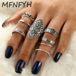 MFNFYH 8pcs/Set Vintage Punk Ring Set <b>Antique</b> Silver Color Geometric Carving Flower Finger Rings for Women Boho Beach <b>Jewelry</b>