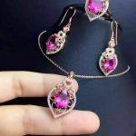 Natural red topaz gem jewelry sets natural green crystal ring Pendant drop <b>Earrings</b> 925 <b>silver</b> Elegant Hollow women fine jewelry