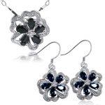 Fashion cute midnight blue sapphire flower shape jewelry sets ring genuine gem stone pendant necklace sterling 925 <b>silver</b> set
