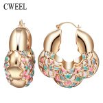 CWEEL <b>Fashion</b> Gold Color Hoop Earrings Trendy <b>Jewelry</b> Gift Gold Color Earrings For Women Bridal Wedding Party Accessories
