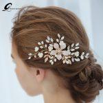 QUEENCO Elegant Floral Leaf Bridal Hair Comb Pearl Hair Clips <b>Wedding</b> Hair Accessories Bridal HairPins Party Women <b>Jewelry</b>