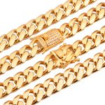 Beichong Stainless Steel <b>Jewelry</b> Gold Filled Plated High Polished Miami Cuban Link <b>Necklace</b> Men Punk Curb Chain 24″/28″/30″