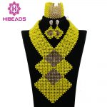 <b>Handmade</b> African Costume <b>Jewelry</b> Sets Yellow Crystal Beads Set Statement Necklace Nigerian Bridal <b>Jewelry</b> Free Shipping ABK544